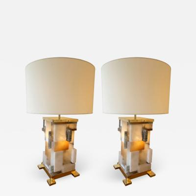 Antonio Cagianelli Contemporary Pair of Alabaster Gilt Metal Cubismi Lamps by Cagianelli Italy