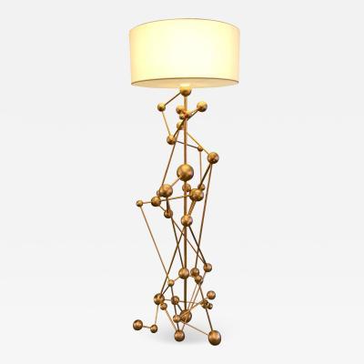 Antonio Cagianelli Floor Lamp Atomica Iron Gold Leaf by Antonio Cagianelli Italy 2018