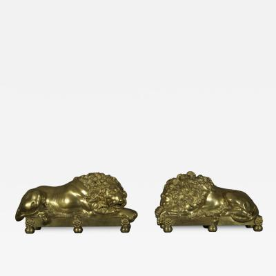 Antonio Canova A Pair of Regency Gilt Brass Recumbent Lions After The Model By Antonio Canova