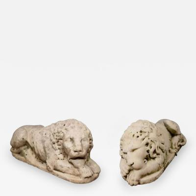 Antonio Canova Two Associated Carved Marble Recumbent Lions after Canova