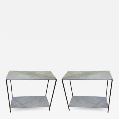 Antonio Citterio 2 Italian Iron Marble Minimalist Consoles Sofa Tables Attr Antonio Citterio