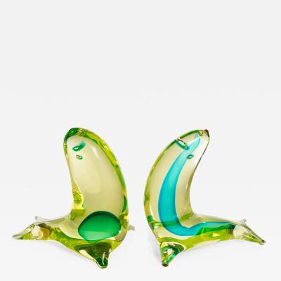 Antonio Da Ros 2 Murano Glass Seals Sculptures