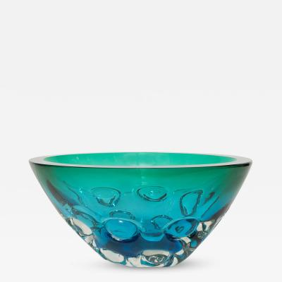 Antonio Da Ros Deep Green Chisel Cut Bowl by Antonio da Ros for Cendese