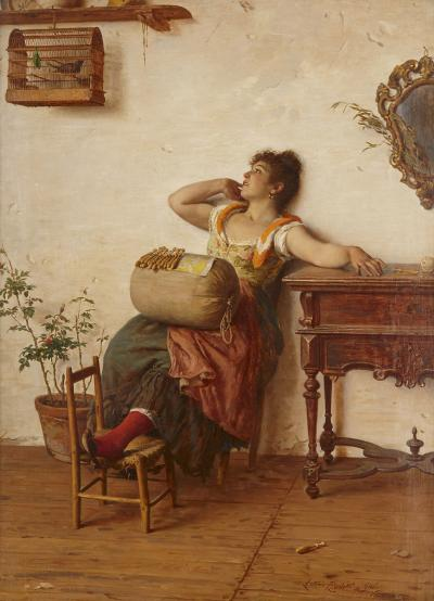 Antonio Ermolao Paoletti Italian oil on canvas painting of a lacemaker by Paoletti