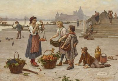Antonio Ermolao Paoletti Italian oil painting of a fruit seller in Venice by Paoletti
