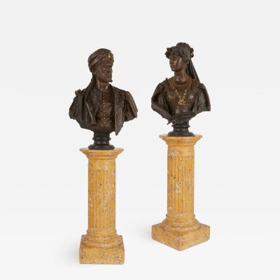 Antonio Giuseppe Garella Pair of bronze busts of Othello and Desdemona by Garella