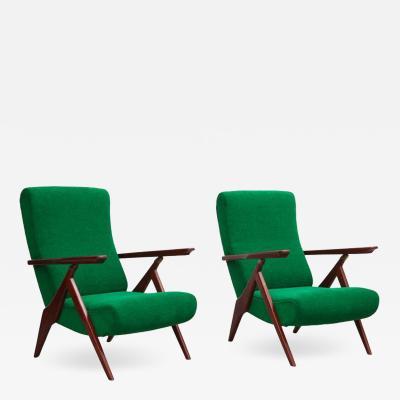 Antonio Gorgone Rare Pair of Antonio Gorgone Reclining Lounge Chairs