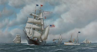 Antonio Jacobsen The Bark Columbia Ships in New York Harbor