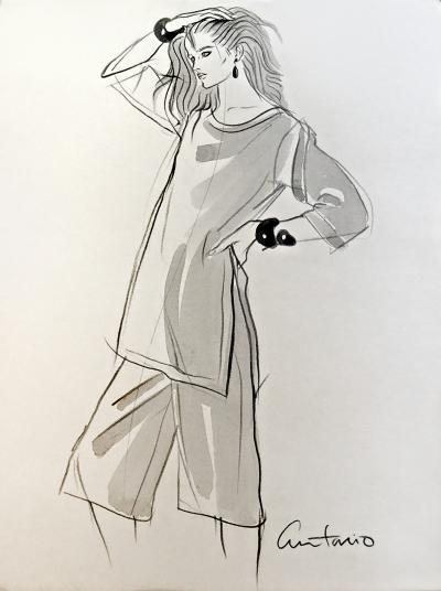 Antonio Lopez Fashion Model full figure in profile