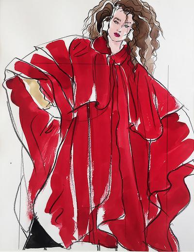 Antonio Lopez Woman in Red Vogue Magazine S Burroughs