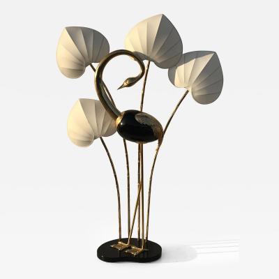 Antonio Pavia Monumental Brass Egret Flamingo Floor Lamp by Antonio Pavia