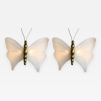 Antonio Pavia Pair of Brass Sconces Butterfly by Antonio Pavia Italy 1970s