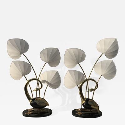 Antonio Pavia Pair of Seated Brass Egret Flamingo Floor Lamps by Antonio Pavia