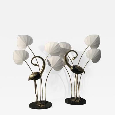 Antonio Pavia Pair of Standing Egret Flamingo Floor Lamps by Antonio Pavia