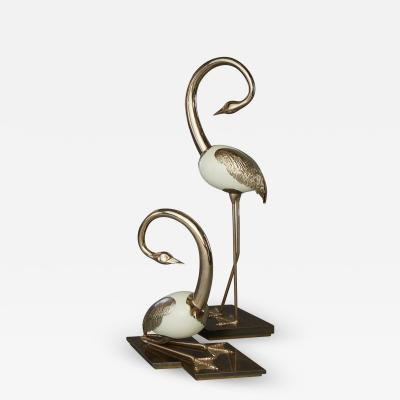 Antonio Pavia Set of Brass Flamingo Crane Sculptures