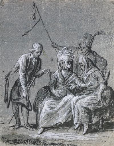Antonio Pietro Francesco Zucchi Gentleman Standing beside Two Seated Ladies and Servant