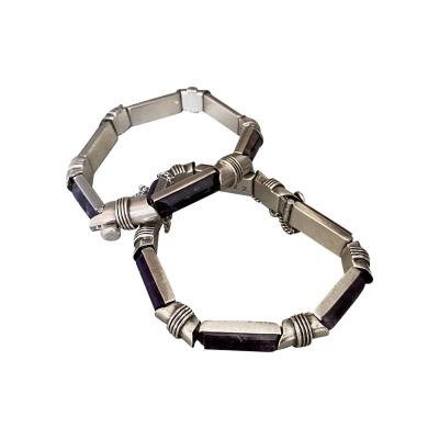 Antonio Pineda Antonio Pineda Sterling Silver and Amethyst Bracelet pair