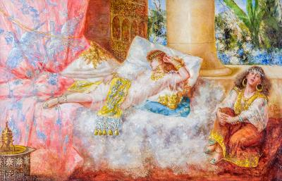 Antonio Rivas A Fine Orientalist Painting Depicting a Sultan s Concubine in the Harem