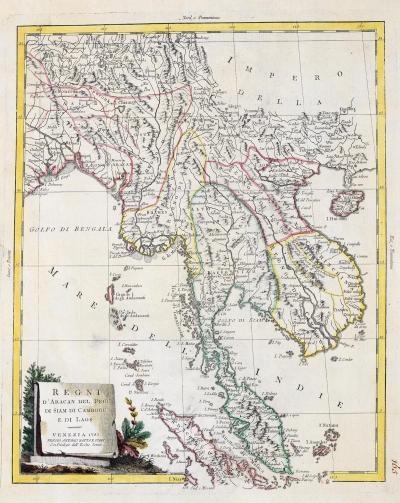 Antonio Zatta 18th century map of Indo China