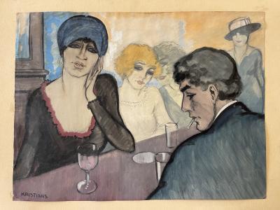 Antonius Johans Kristians At the Bar Watercolor on Paper by A J Kristians France Art D co 1920s