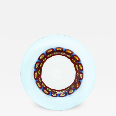 Anzolo Fuga Anzolo Fuga Hand Blown Glass Charger with Rings of Murrhines 1950s