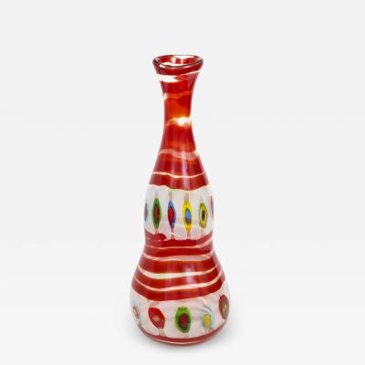 Anzolo Fuga Anzolo Fuga Large Bottle with Red Spiral and Colorful Murrines 1950s