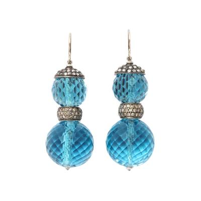 Aqua Bead Diamond Earrings