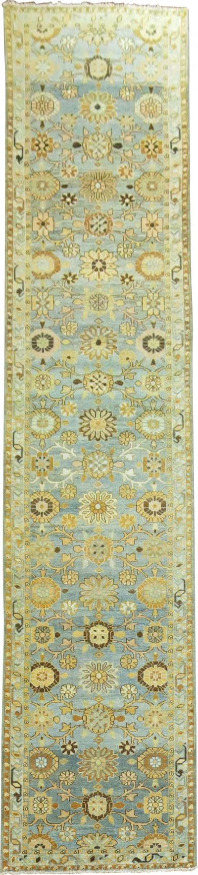 Aqua Blue Antique Tabriz Mini Khani Runner rug no j1787