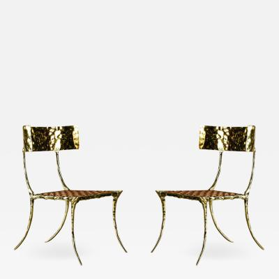 Aqua Klismos Brass Chairs