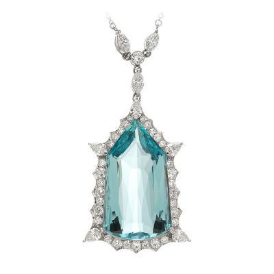 Aqua and Diamond Drop Platinum Pendant