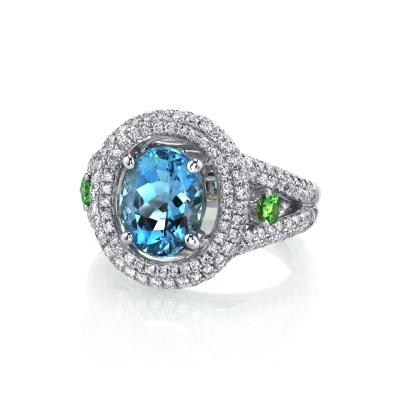 Aquamarine Diamond and Tsavorite Garnet Ring 18k White Gold