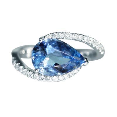 Aquamarine and Diamond Crossover Ring