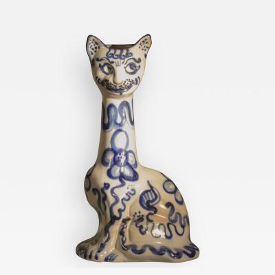 Arabesque Handpainted Feline Ceramic Vase