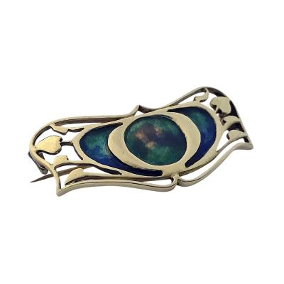 Archibald Knox Gold Enamel Art Nouveau Brooch attributed Archibald Knox for Liberty C 1900