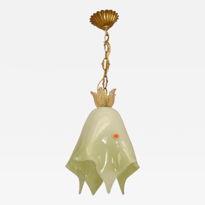 Archimede Seguso 3 Italian 1950s Venetian Murano Light Green Cased Glass Lanterns