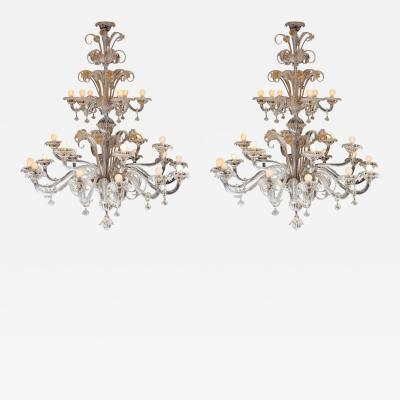 Archimede Seguso Impressive Pair of Murano Chandeliers by Seguso 1960