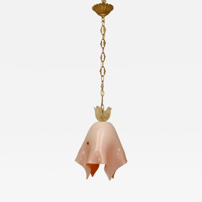 Archimede Seguso Italian 1950s Venetian Murano Light Pink orange inside Cased Glass Lantern