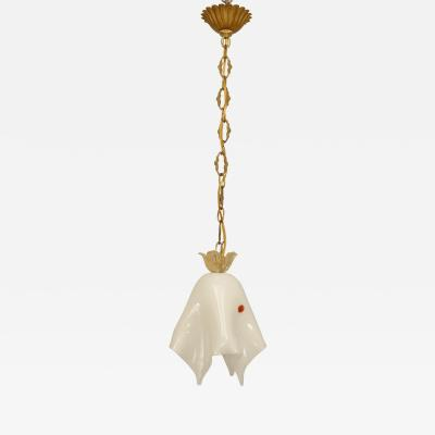 Archimede Seguso Italian 1950s Venetian Murano White Cased Glass Lantern