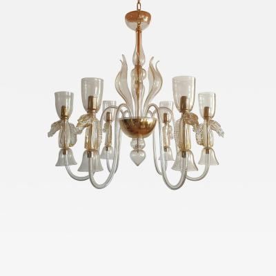 Archimede Seguso Large Murano Chandelier Clear Gold w Horses Decor Italy 1960
