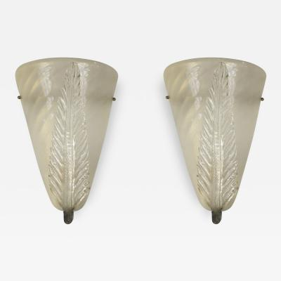 Archimede Seguso Pair of Vintage Gold Blown Murano Wall Lights by Seguso