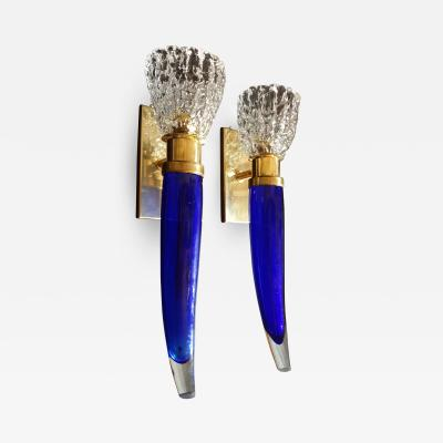Archimede Seguso Pair of blue clear Mid Century Modern Murano glass sconces Seguso style
