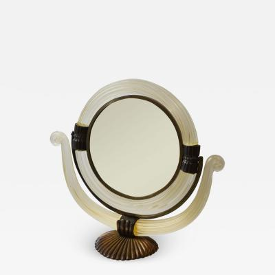 Archimede Seguso Pivoting Mirror in Murano glass by Archimede Seguso