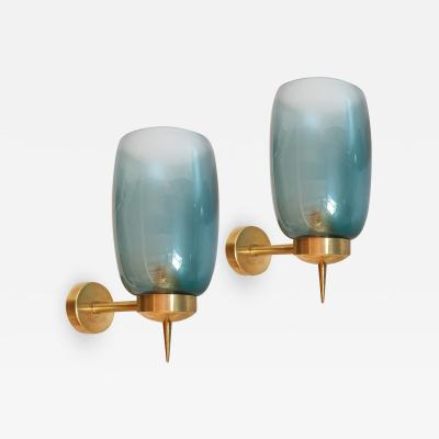 Archimede Seguso Two pairs of blue Murano glass Mid Century Modern sconces attr to Seguso 1970s