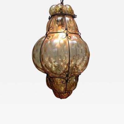 Archimede Seguso Vintage Handblown Seguso Murano Amber Glass Cage Pendant Light