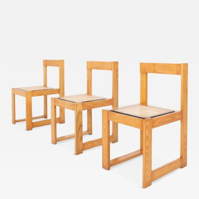 Architectural Asymmetrical Dining Chairs In Pine Wicker 1970s