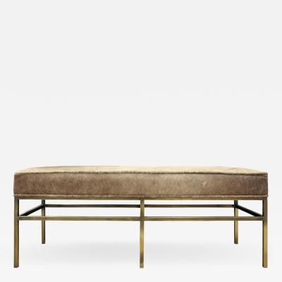 Architectural Bench in Pony Skin with Bronze Base 1970s