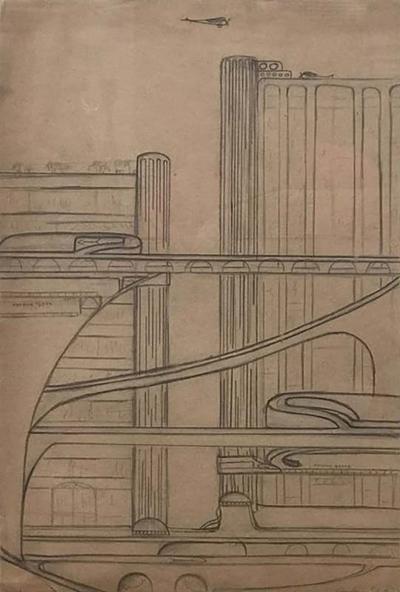 Architectural Drawing of a Futuristic Cityscape