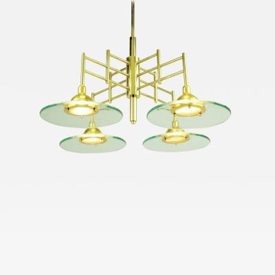Architectural Four Light Brass and Glass Pendant Halogen Chandelier