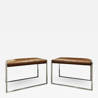 Architectural Pair Of Benches In Chrome with Stitched Leather Seats 1970s