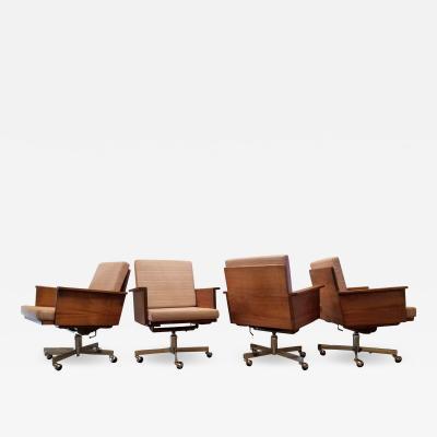 Arden Riddle Arden Riddle 8 Rolling Armchairs Swivel Adjustable Walnut Studio 1973
